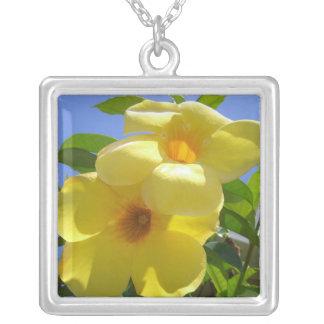 Golden Trumpet Flowers Tropical Floral Square Pendant Necklace