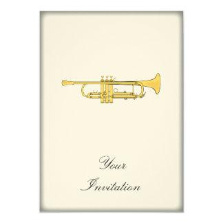 Golden Trumpet Music Theme 13 Cm X 18 Cm Invitation Card