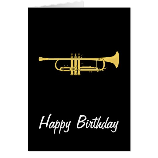 Golden Trumpet Music Theme Birthday Card