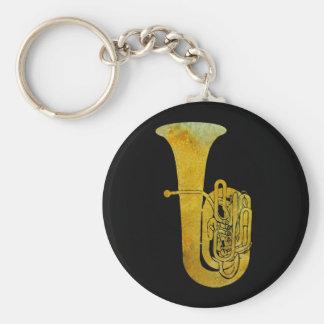 Golden Tuba Basic Round Button Key Ring