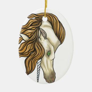 Golden Unicorn Ceramic Oval Decoration