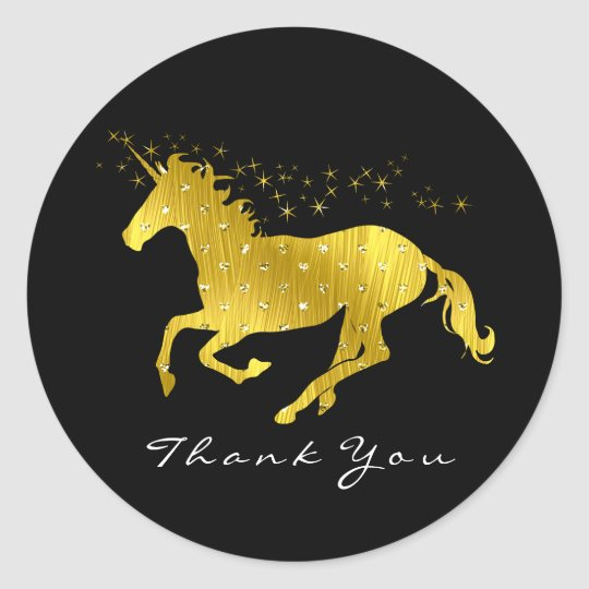 Golden Unicorn Hearts Stars Thank You Name Black Classic Round Sticker