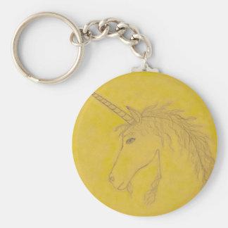 Golden Unicorn Basic Round Button Key Ring