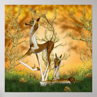 Golden Unicorn Kirin And Foal Fantasy Art Poster