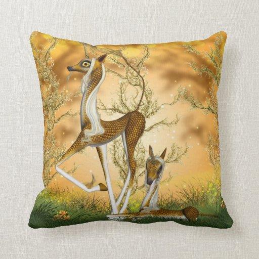 Golden Unicorn Kirin Fantasy Art Throw Pillow