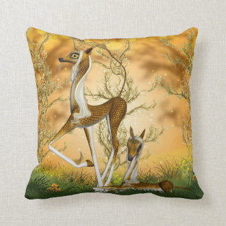 Golden Unicorn Kirin Fantasy Art Throw Pillow Throw Cushion