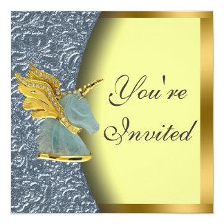 Golden Unicorn Party Invitation