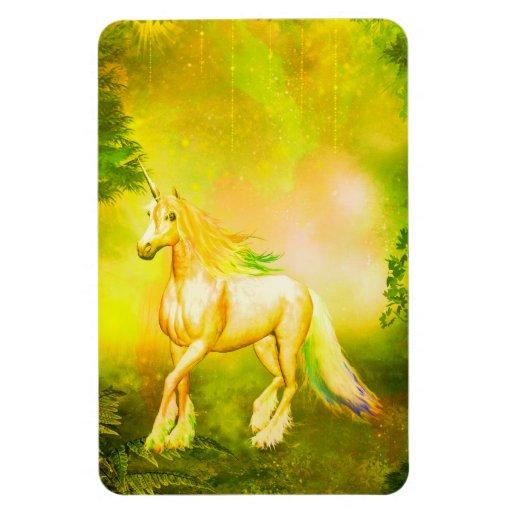 Golden unicorn rectangular magnets