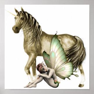 Golden Unicorn & Shy Fairy Print