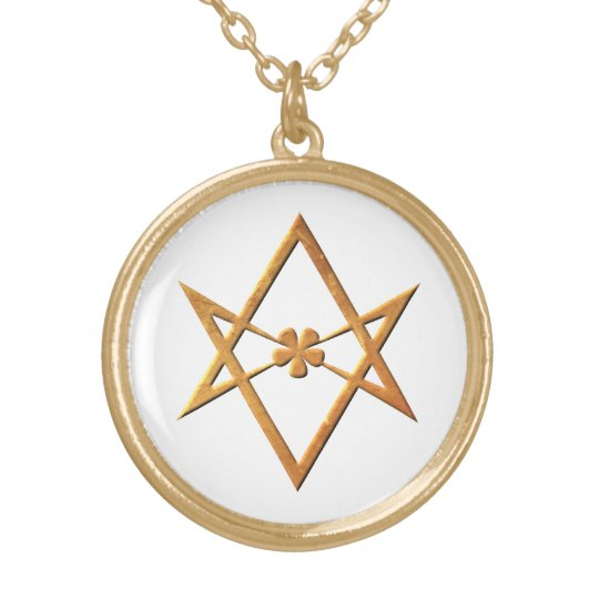 Golden Unicursal Hexagram - thelemic symbol Gold Plated