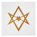 Golden Unicursal Hexagram - thelemic symbol Poster