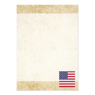 Golden United States Flag 13 Cm X 18 Cm Invitation Card