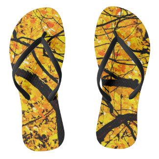 Golden Veins Of Autumn Flip Flops