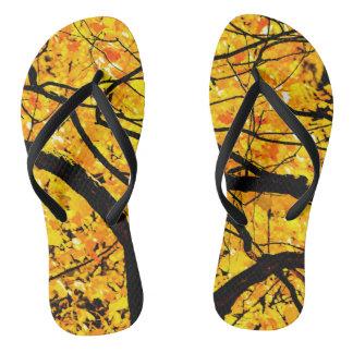 Golden Veins Of Autumn Flip Flops