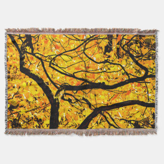 Golden Veins Of Autumn Throw Blanket