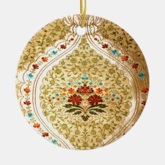 Golden Venetian damask Round Ceramic Decoration