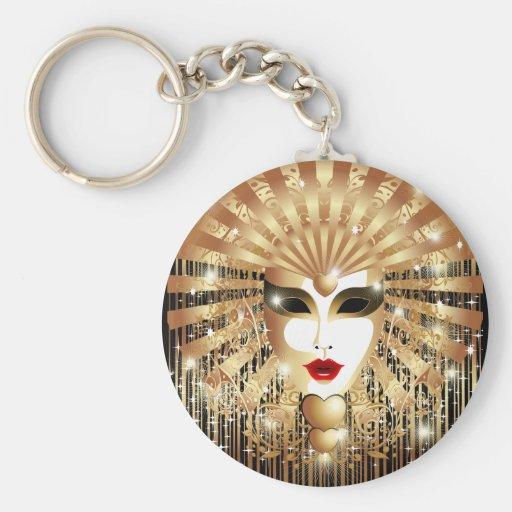 Golden Venice Carnival Party Mask Keychain