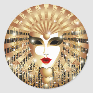 Golden Venice Carnival Party Mask Stickers