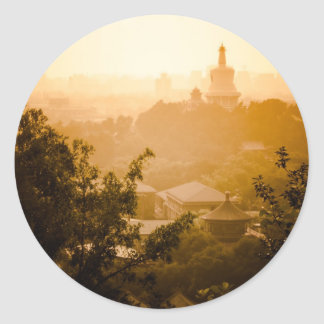 Golden View from Jing Shan Round Sticker