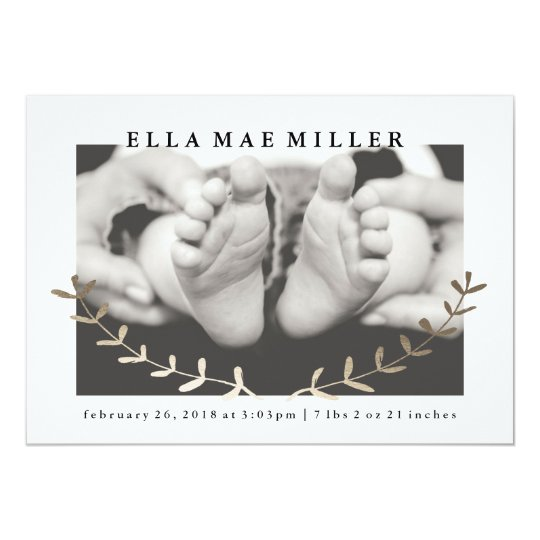 Golden Vine Faux Foil Birth Announcement Cards