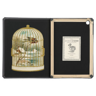 Golden Vintage Bird Cage Winter Scene iPad Air Covers