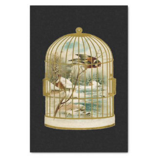 Golden Vintage Bird Cage Winter Scene Tissue Paper