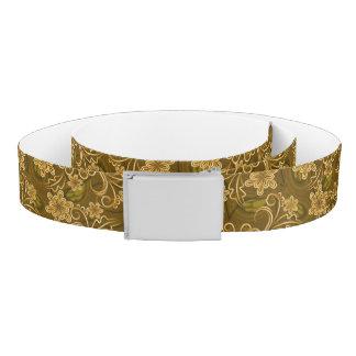 Golden vintage floral pattern belt
