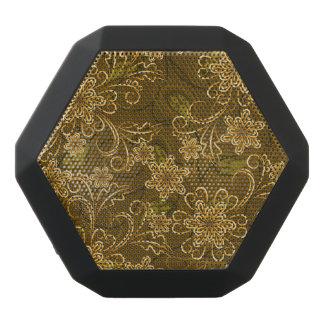 Golden vintage floral pattern black bluetooth speaker
