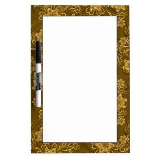 Golden vintage floral pattern dry erase board