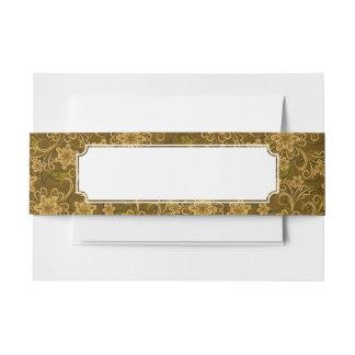 Golden vintage floral pattern invitation belly band