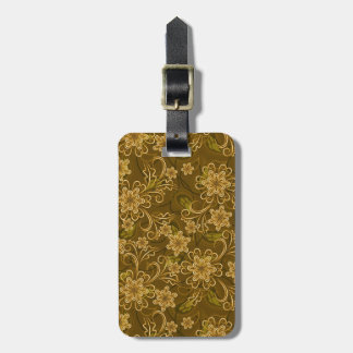 Golden vintage floral pattern luggage tag