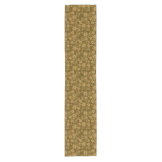 Golden vintage floral pattern short table runner