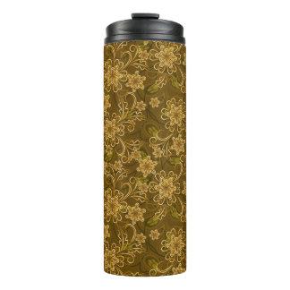 Golden vintage floral pattern thermal tumbler