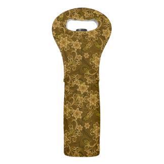 Golden vintage floral pattern wine bag