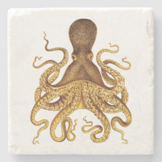 Golden Vintage Octopus Illustration Stone Beverage Coaster