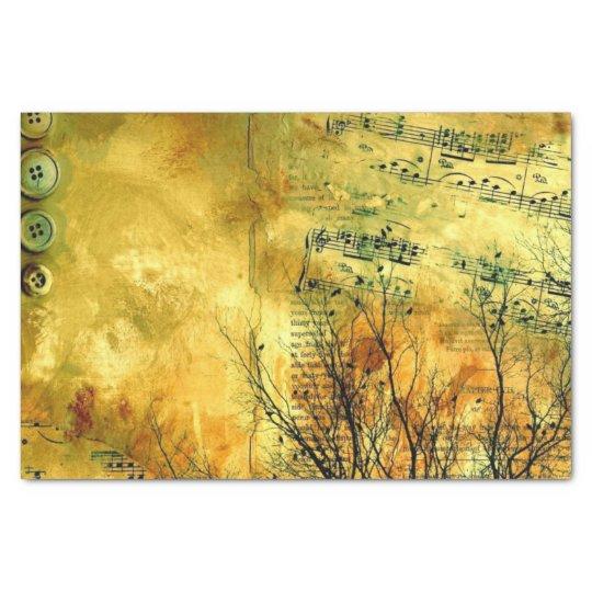 Golden Vintage Sheet Music Tissue Paper