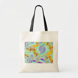 Golden Violet Sea Shells, Abstract Fractal Ocean Budget Tote Bag