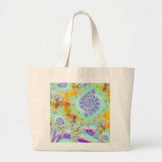 Golden Violet Sea Shells, Abstract Fractal Ocean Jumbo Tote Bag
