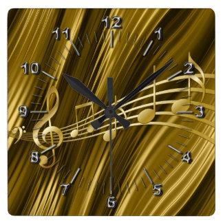 Golden violin key square wall clock