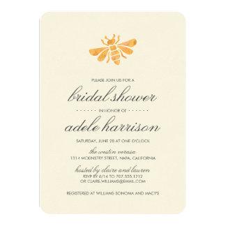 Golden Watercolor Bee Bridal Shower 11 Cm X 16 Cm Invitation Card