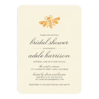 Golden Watercolor Bee Bridal Shower Card