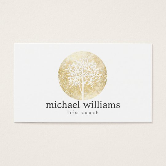 Golden Watercolor Tree Life Coach, Counsellors Business Card