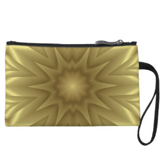 Golden Wave Abstract Print Mini Fashion Clutch Wristlet Clutch