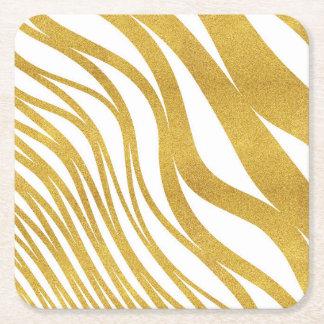 Golden Wave Square Paper Coaster