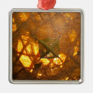 Golden Weave Silver-Colored Square Decoration
