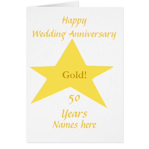 Golden wedding anniversary years names front zazzle