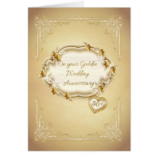Golden Wedding Anniversary, 50th Card