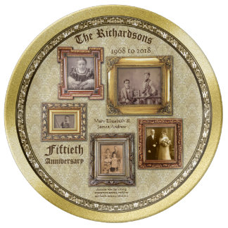 Golden Wedding Anniversary Antique Frames Collage Plate