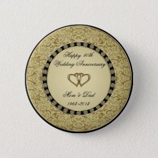 Golden Wedding Anniversary Button