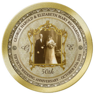 Golden Wedding Anniversary Classic Photo Frame Porcelain Plates